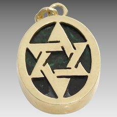 Magen David Gold Pendant | Malachite 14K Yellow | Vintage Israel Charm