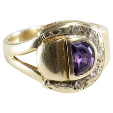 Amethyst Diamond Mens Ring | 14K Yellow Gold | Vintage Israel Gent