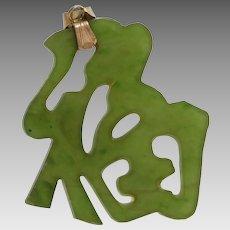 Green Jadeite Jade Pendant | 18K Yellow Gold | Vintage China Good Luck