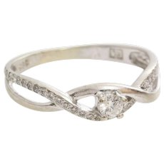 Vintage Diamond Engagement Ring | 14 Karat White Gold | Brilliant Cut