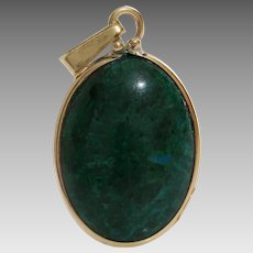 Eilat Stone Pendant | 14K Yellow Gold | Vintage Oval Solitaire Jewelry