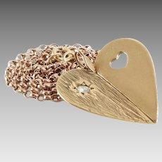 Diamond Heart Pendant Necklace | 9K Gold Yellow Rose | Vintage Chain