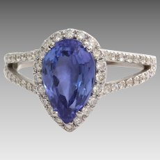 Tanzanite Diamond Engagement Ring | 18K White Gold | Vintage Halo Pear