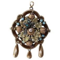 Victorian Locket Pendant Brooch | 15K Gold Silver | Turquoise Pin 14K