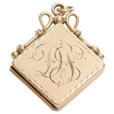 Retro Locket Pendant | 14K Yellow Gold | Vintage Monogram Initial