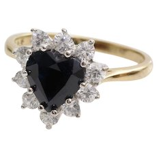 Sapphire Heart Halo Ring | 9K Bicolor Gold | Vintage Cubic Zirconia