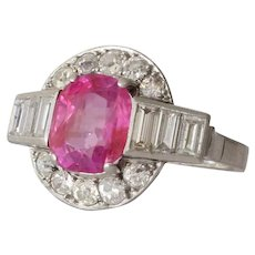 Art Deco Pink Sapphire Ring | Diamond Platinum | Vintage Untreated