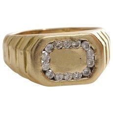 Retro Diamond Mens Ring   14K Yellow Gold   Vintage Gents Signet Round