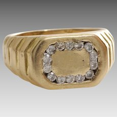 Retro Diamond Mens Ring | 14K Yellow Gold | Vintage Gents Signet Round