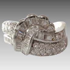 Art Deco Diamond Ring | 18K White Gold | Vintage Cocktail Brilliant