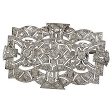 Edwardian Platinum Brooch Pendant | Diamond Antique Pin | Open Work
