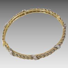 Diamond Gold Cuff Bracelet | 18K Bicolor Braided | Vintage Bangle Israel