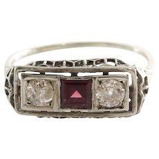 Garnet Diamond Ring   Platinum Art Deco   Vintage Three Stone Filigree