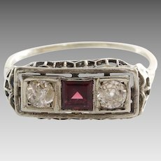 Garnet Diamond Ring | Platinum Art Deco | Vintage Three Stone Filigree