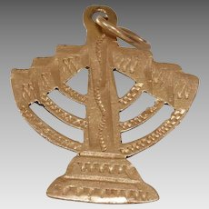 Menorah Gold Pendant Charm | 18K Yellow Judaica | Israel Vintage