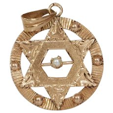 Magen David Pearl Pendant | 14K Rose Gold | Vintage Retro Star Charm
