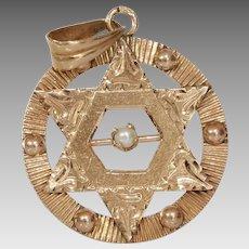 Magen David Pearl Pendant | 14K Rose Gold | Vintage Retro Star Charm