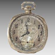 Eterna Gold Pocket Watch | 14K White Open Face | Swiss Art Deco Vintage