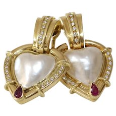 Mabe Pearl Clip On Earrings | 18K Yellow Gold Heart | Diamond Ruby
