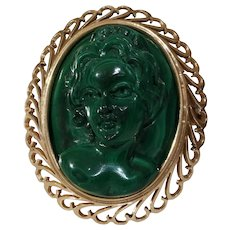 Art Deco Cameo Brooch Pendant | Malachite 14K Gold | Vintage Pin Women