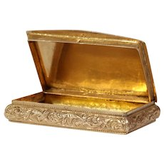 Victorian French Snuff Box | 18K Yellow Gold | Antique France Hinged