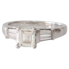 Art Deco Diamond Engagement Ring | 14K White Gold | Emerald Cut