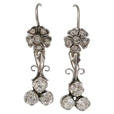 Art Deco Diamond Earrings | 18K White Gold | Vintage Drop Dangle