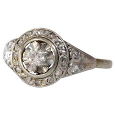 Art Deco Diamond Engagement Ring | 18K White Gold | Vintage French