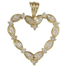 Diamond Heart Pendant | 14K Yellow Gold | Vintage Round Marquise Cut