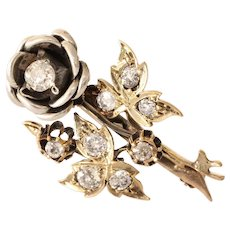 Art Deco Flower Brooch | 18K Bicolor Gold Diamond | Vintage Pin