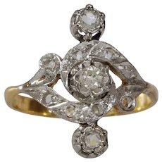 Art Nouveau Diamond Ring   18K Gold Platinum   Antique Engagement