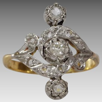 Art Nouveau Diamond Ring | 18K Gold Platinum | Antique Engagement