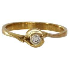 Diamond Engagement Ring | 18K Yellow Gold | Vintage Art Deco Retro