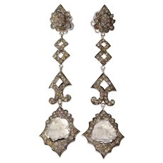 Fancy Colored Diamond Earrings | 18K White Gold | Drop Chandelier