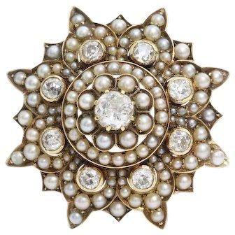 Victorian Diamond Brooch Pendant | 9K Gold Pearl | Antique Pin Star