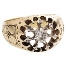 Russian Mens Diamond Ring | 14K Yellow Gold Silver | Antique Art Nouveau