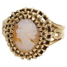 Retro Cameo Ring | 14K Yellow Gold Shell | Vintage Carved Oval Pinky