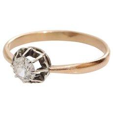Edwardian Diamond Engagement Ring | 14K Gold Antique | Art Nouveau