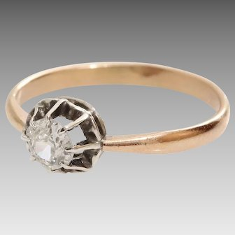 Edwardian Diamond Engagement Ring | 14K Gold Antique | Art Nouveau