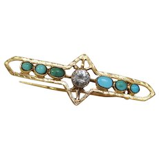 Victorian Turquoise Zircon Brooch | 18K Yellow Gold | Antique Bar Pin