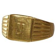 J Initial Mens Ring | 18K Yellow Gold | Vintage Retro Signet Gents