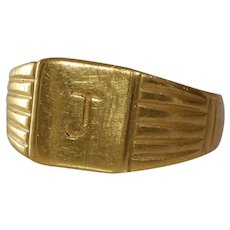 J Initial Mens Ring | 18K Yellow Gold | Vintage Retro Signet Gents
