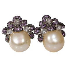 Pearl Diamond Sapphire Earrings| 18K White Gold | Vintage Pink Cultured
