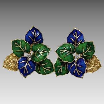 Enamel Leaves Diamond Earrings| 18K Yellow Gold | Vintage Clip On