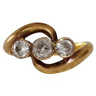 Victorian Zircon Three Stone Ring | 18K Yellow Gold | Antique Cocktail