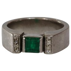 Emerald Diamond Engagement Ring   18K White Gold   Vintage Square Cut