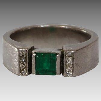 Emerald Diamond Engagement Ring | 18K White Gold | Vintage Square Cut