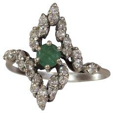 Emerald Diamond Cocktail Ring | 14K White Gold | Vintage Engagement