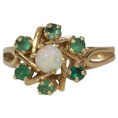 Emerald Opal Cocktail Ring | 14K Yellow Gold | Vintage Engagement