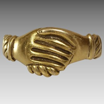 Vintage Fede Gold Ring | 14K Yellow Clasped Hands | USA Love Jewelry